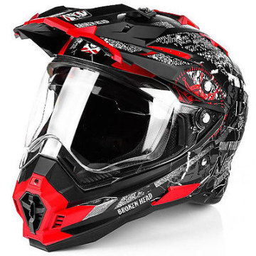 Motorradhelm Broken Head Road Pirate Enduro rot matt #6250 Cross Helm
