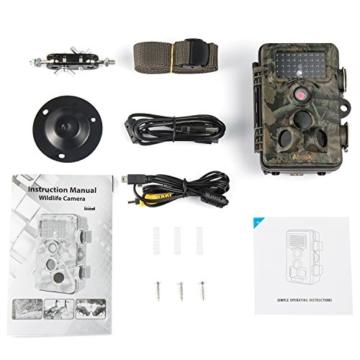 ABASK Wildkamera Digitale 12 MP 1080P HD Wasserdichte Überwachungskamera 3 Zone Infrarot-Sensor 120° Weitwinkel mit dem Zeitintervall Infrarote 20m Nachtsichtkamera Jagdkamera für Spiel & Jagd -