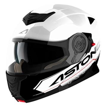 Astone Helmets Klapphelm Touring, Weiß/Schwarz, XL -