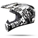 ATO-Moto Nevada Weiß Größe L 59-60cm Motocrosshelm mit ausziehbarer Sonnenblende und der neusten Sicherheitsnorm ECE 2205 -