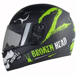 Broken Head Adrenalin Therapy II matt (S 55-56 cm) Motorradhelm - Helm grün - Integralhelm -