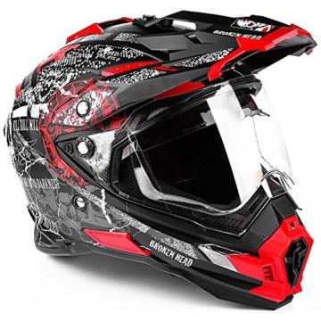 Broken Head Road Pirate Enduro Helm rot - MX Motorradhelm mit Sonnenblende -