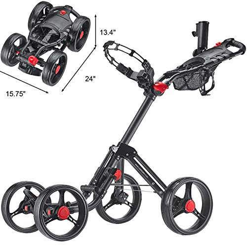 caddytek superlite quad 4 rad trolley push golftrolley. Black Bedroom Furniture Sets. Home Design Ideas