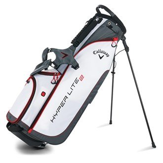 Callaway 2016 Hyper Lite 2 Lightweight Stand Carry Golf Bag 3-Way Divider White/Charcoal/Red -