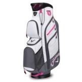 Callaway 2017 Ladies Chev ORG Cart Bag Womens Golf Trolley Bag 14-Way Divider Titanium/White/Pink -