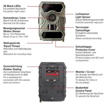 【Full HD Tag- / Nachtsicht】 100° Weitwinkel, kabellose getarnte Outdoor Überwachungskamera Wildkamera SECACAM HomeVista – 12 MP / 0,4 Sekunden Auslösezeit / Bewegungsmelder -