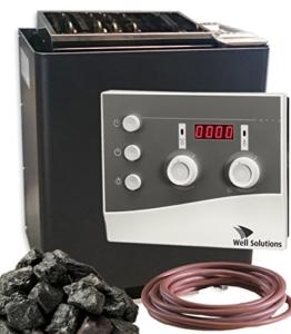 EOS Bi-O Mat W Sauna Ofen 9kW mit Saunasteuerung K3 Well Solutions und Steine -