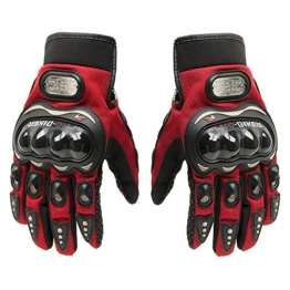 Fortag Motorradhandschuhe kurze Sport Leder Sommer Winter Vollfinger Handschuhe Blau Rot Schwarz M-XXL (M, Rot) -