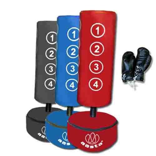freistehender boxsack f r kinder mit handschuhen blau blau. Black Bedroom Furniture Sets. Home Design Ideas