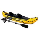 Intex Schlauchboot Aufblasbares Kajak Boot Explorer K2 Phthalates Free Inkl. 84 Paddel und Luftpumpe, 312 X 91 X 51 cm -