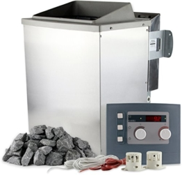 Karibu Saunaofen Bio 9 kW mit Steuerung und 20 kg Saunasteine 400 V Bio-Kombiofen inkl. Verdampfer für Dampfsauna -