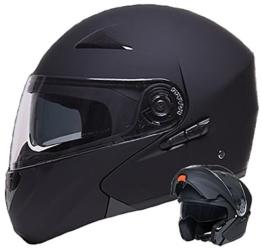 Klapphelm Integralhelm Helm Motorradhelm RALLOX 109 schwarz/matt mit Sonnenblende (S, M, L, XL) Größe XL -