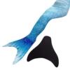 Likeep™ Meerjungfrauenschwanz zum Schwimmen mit Meerjungfrau Flosse mit Kostenloser Classic Silicone Badekappe + Ohrenstöpsel + Nasenklammer (Blau, 12) -