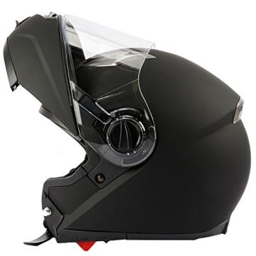 Mach1 Integralhelm mit integrierter Sonnenblende und Spoiler, Schwarz-matt Flip up, 61-62cm (XL) -