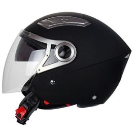 Mach1® Jethelm Helme Motorradhelm Helm schwarz Roller Scooter in den Gr.XS bis Gr.XXL mit Sonnenblende (Schwarz-matt mit langes Visier, 53-54 cm (XS)) -