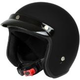 Mach1® Jethelm Motorradhelm schwarz Roller Scooter Helm Größe XS bis XXL mit abnehmbarem Schirm (Größe 63-64 cm XXL) (Schwarz-matt, 55-56 cm (S)) -