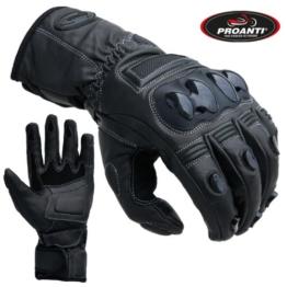 Motorradhandschuhe Touring Race Motorrad Leder Handschuhe von PROANTI® schwarz -