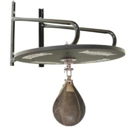 Profi Speedball Plattform Set inkl. Drehkugellagerung schwarz und Rindsleder Boxbirne med. braun / Boxapparat für die Wandmontage -