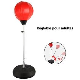 Punchingball Erwachsene Boxtraining Set mit Boxhandschuhen und Ständer Verstellbar Höhe 120-150 cm Rot -