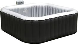PureSpa Aufblasbarer Whirlpool / Jacuzzi mit Heizfunktion (bis 42°C ), Selbstaufblasend, In- und Outdoor Spa Pool,158x158cm, 108 Massagedüsen, 650 Liter, für 4 Personen, inkl Bodenmatte und Abdeckplane -