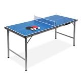 Relaxdays Midi Tischtennistisch (150 x 67 x 71 cm) tragbar für Wohnzimmer & Garten mit Ball & Schläger - Tischtennisplatte Outdoor mit Tischtennis-Set zum Zusammenklappen & Tragen -