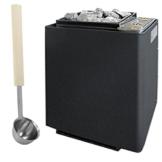 Saunaofen EOS Bi-O-Mat W 7,5 kW, anthrazit-Perleffekt inkl. Verdampfer und 15 kg Saunasteinen. Bio-Kombi-Ofen ohne Steuerung -