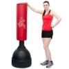 Standboxsack 160cm hoch Gefüllter Freistehender Boxsack für Erwachsene Boxpartner Tube Trainer Punching Bag Box Dummy Schwarz Rot -