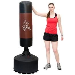 Standboxsack 170cm hoch Gefüllter Freistehender Boxsack für Erwachsene Boxpartner Tube Trainer Punching Bag Box Dummy Schwarz Braun -