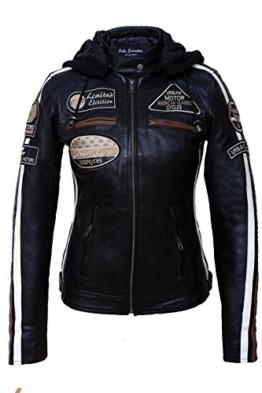 Urban Leather Damen Motorradjacke mit Protektoren, Schwarz, L -