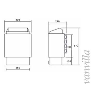 vanvilla Saunaofen 4.5KW / 230V, Sauna Ofen mit Aussensteuerung -