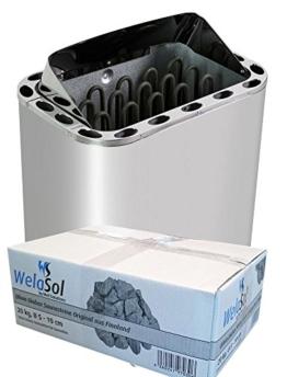 WelaSol Saunaofen Nordex 8kW Außenmantel Edelstahl mit Olivin Diabas Saunasteine -