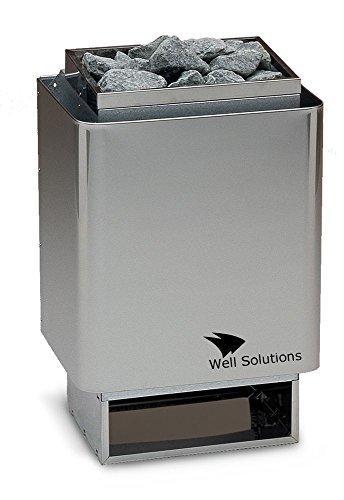 Well Solutions® 34A Saunaofen 7,5 kW, Made in Germany, Wandausführung, Edelstahl inkl. Steine -