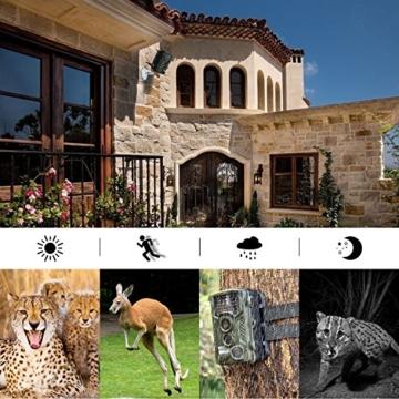 Wildkamera, Aidodo 12MP 1080P HD mit 120 Grad Wildtierkamera, 49 IR LEDs Nachtsicht Wasserdichte Wildlife Camo Jagdkamera, Infrarot Überwachungskamera Fotofalle -