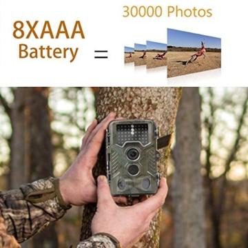Wildkamera, Coolife 2.4 Zoll LCD Digitalkamera Wasserdichte IP56, 16MP 1080P HD Jagd Kamera 46 PC IR LEDs für Nachtsicht Vision 125 Grad Weitwinkel Scouting Überwachungskamera für Wildtier mit 32G SD Karte -