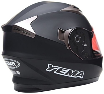 YEMA YM-829 Integralhelm mit Doppelvisier-Schwarz Matt-M -