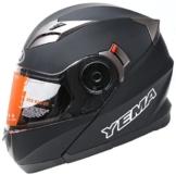 YEMA YM-925 Motorradhelm Klapphelm mit Doppelvisier-Schwarz Matt-S -