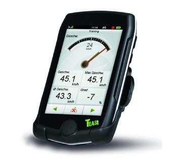 TEASI pro - Fahrrad- & Wandernavigation Europa mit Bluetooth , schwarz -